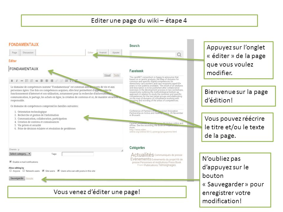 Ajouter une page du wiki – étape 1 Vous pouvez aussi créer et ajouter une page au wiki.
