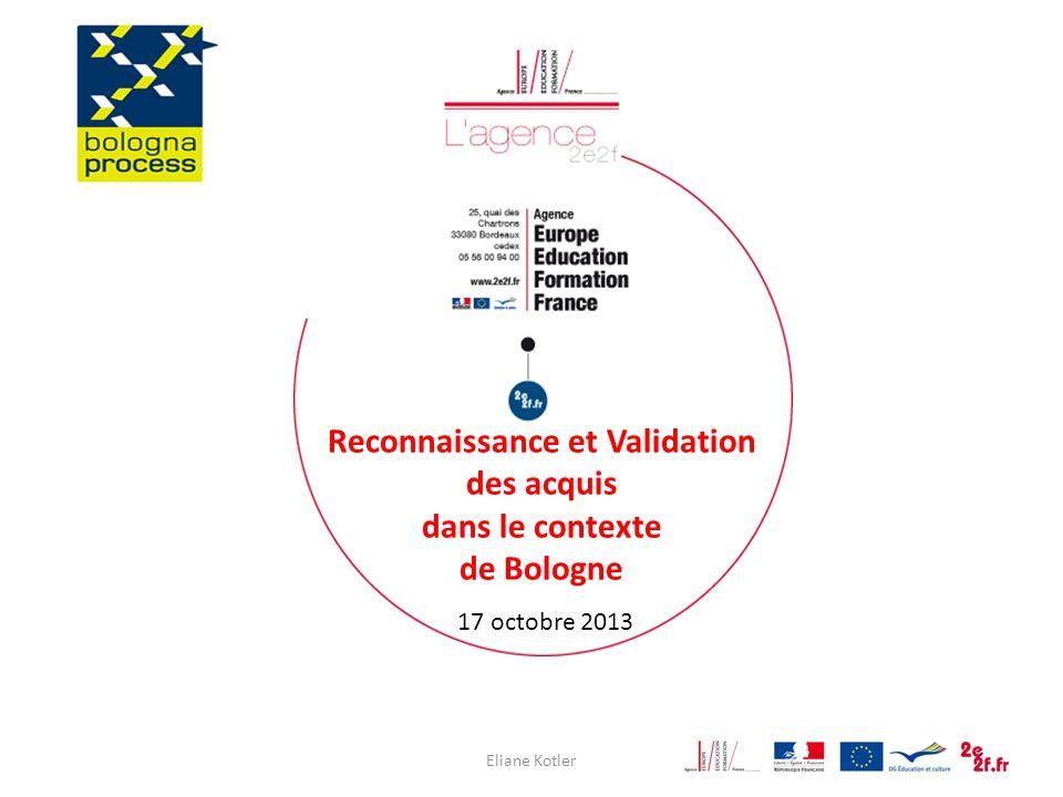 Eliane Kotler1 Reconnaissance et Validation des acquis dans le contexte de Bologne 17 octobre 2013