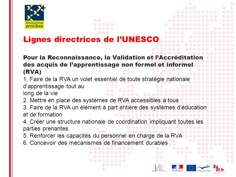 Eliane Kotler10 Lignes directrices de lUNESCO Pour la Reconnaissance, la Validation et lAccréditation des acquis de lapprentissage non formel et informel (RVA) 1.