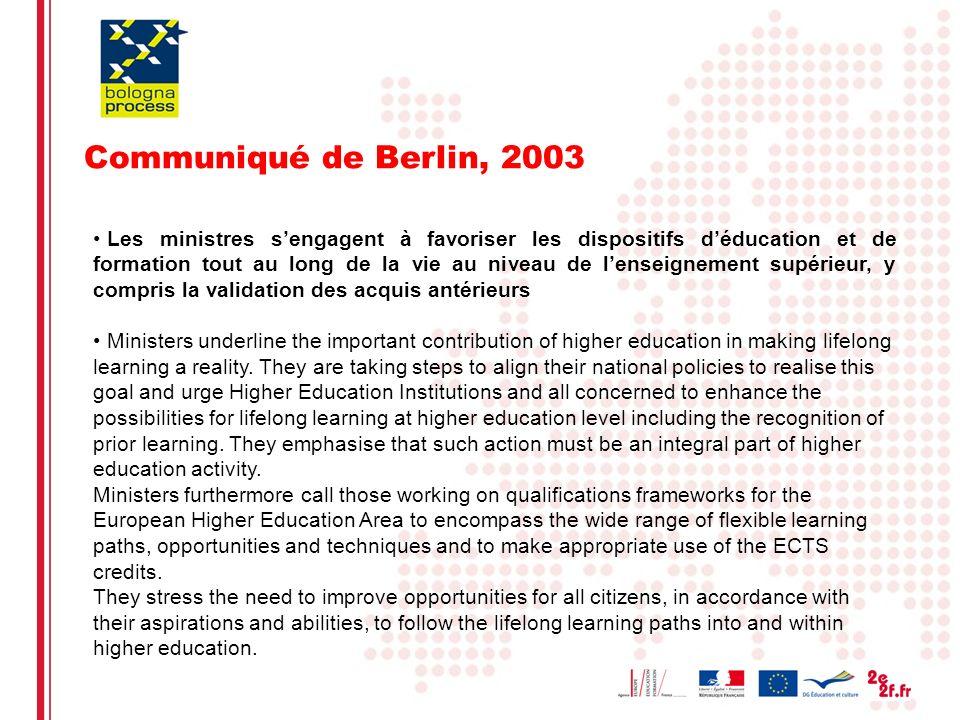 Eliane Kotler5 Communiqué de Berlin, 2003 Les ministres sengagent à favoriser les dispositifs déducation et de formation tout au long de la vie au niv