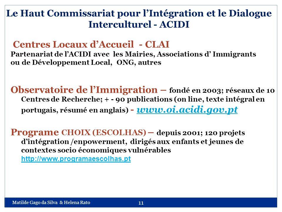 Matilde Gago da Silva & Helena Rato 11 Le Haut Commissariat pour lIntégration et le Dialogue Interculturel - ACIDI Centres Locaux dAccueil - CLAI Part