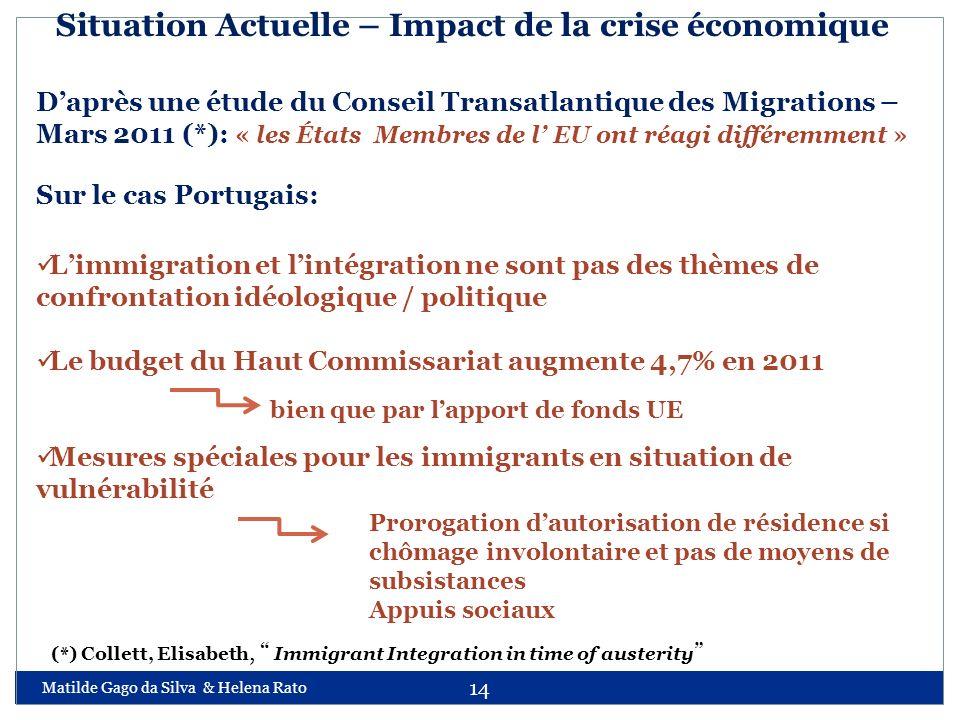 Matilde Gago da Silva & Helena Rato 14 Situation Actuelle – Impact de la crise économique Daprès une étude du Conseil Transatlantique des Migrations –
