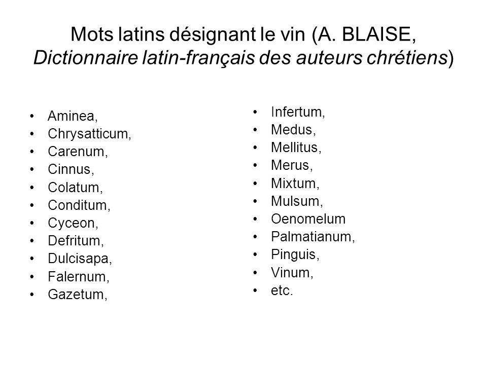Mots latins désignant le vin (A.