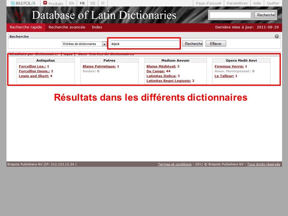 Résultats dans les différents dictionnaires