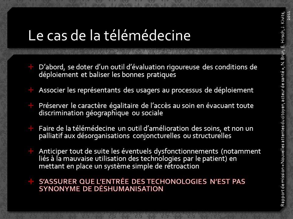 Le cas de la télémédecine Rapport de mission « Nouvelles attentes du citoyen, acteur de santé », N.