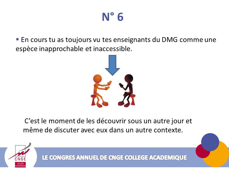 N° 6 En cours tu as toujours vu tes enseignants du DMG comme une espèce inapprochable et inaccessible.