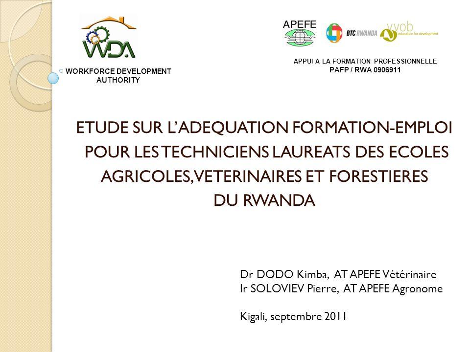 ETUDE SUR LADEQUATION FORMATION-EMPLOI POUR LES TECHNICIENS LAUREATS DES ECOLES AGRICOLES, VETERINAIRES ET FORESTIERES DU RWANDA Dr DODO Kimba, AT APE