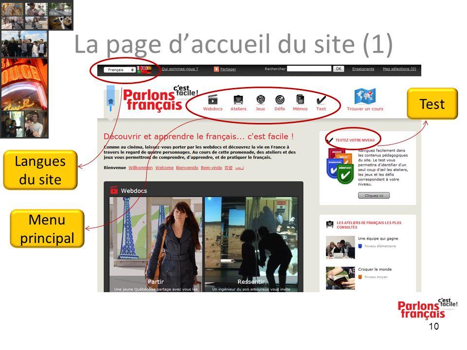 10 La page daccueil du site (1) Menu principal Test Langues du site