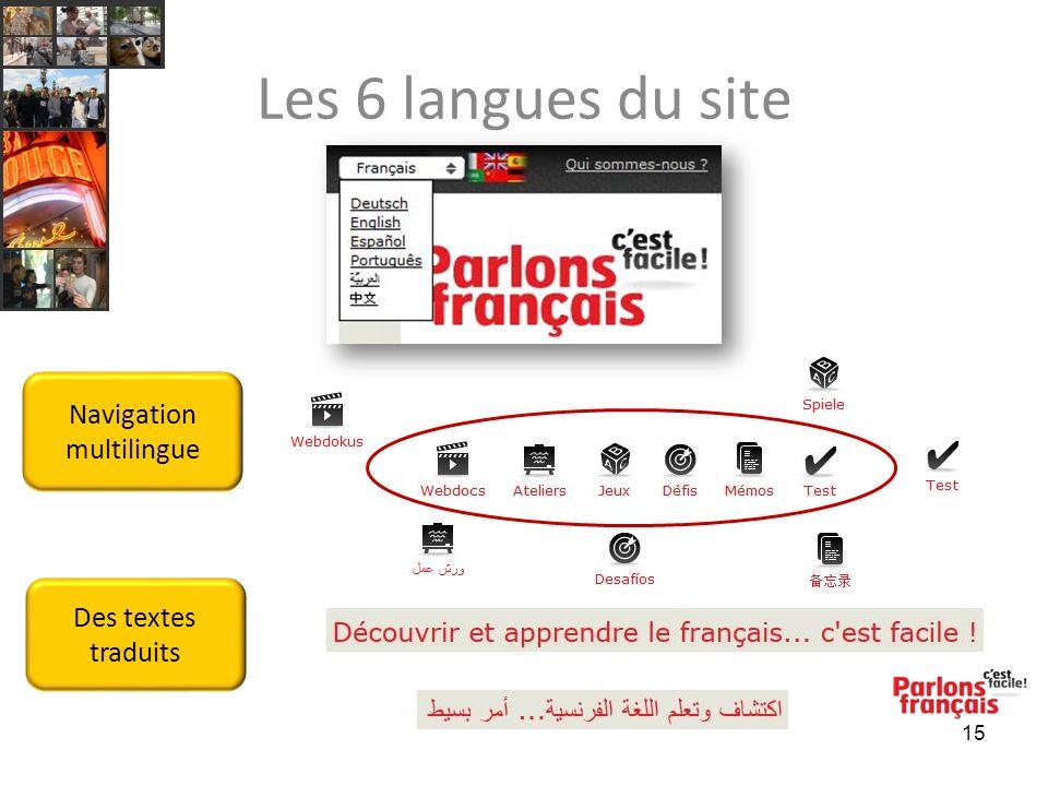 Les 6 langues du site 15 Navigation multilingue Des textes traduits