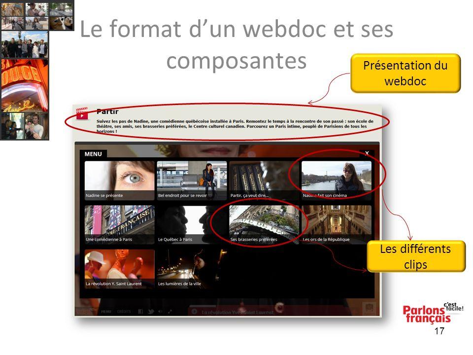 17 Le format dun webdoc et ses composantes Les différents clips Présentation du webdoc