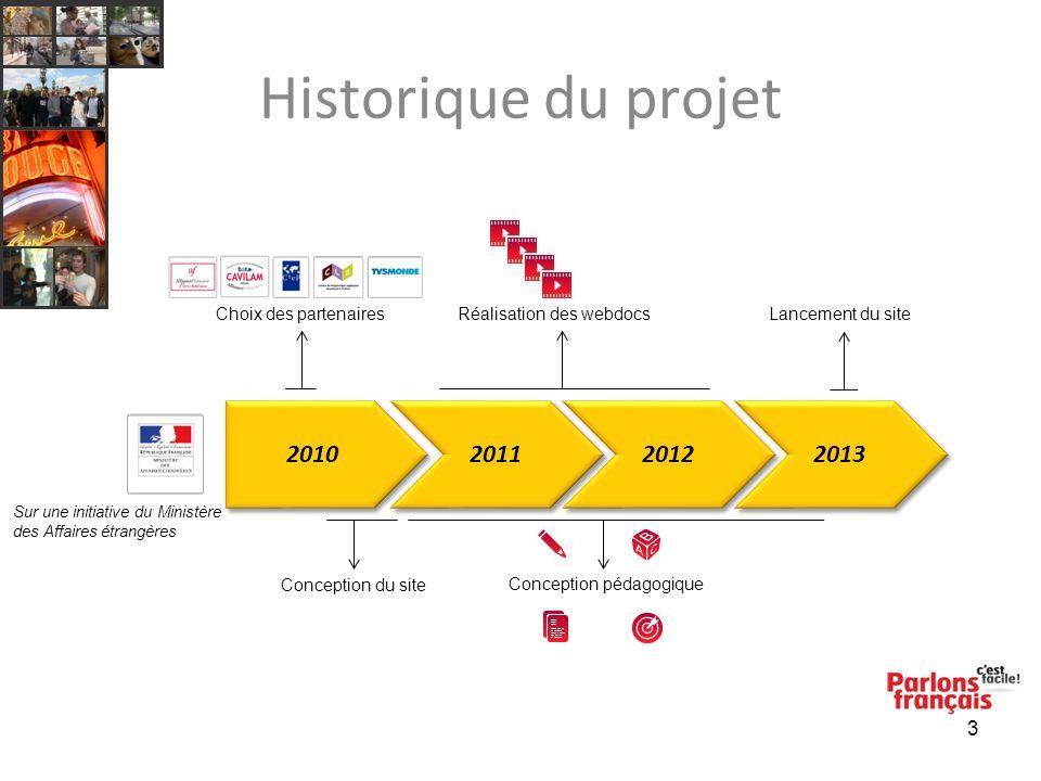 3 Historique du projet 2010 2011 2012 2013 Conception du site Choix des partenairesRéalisation des webdocs Conception pédagogique Lancement du site Su
