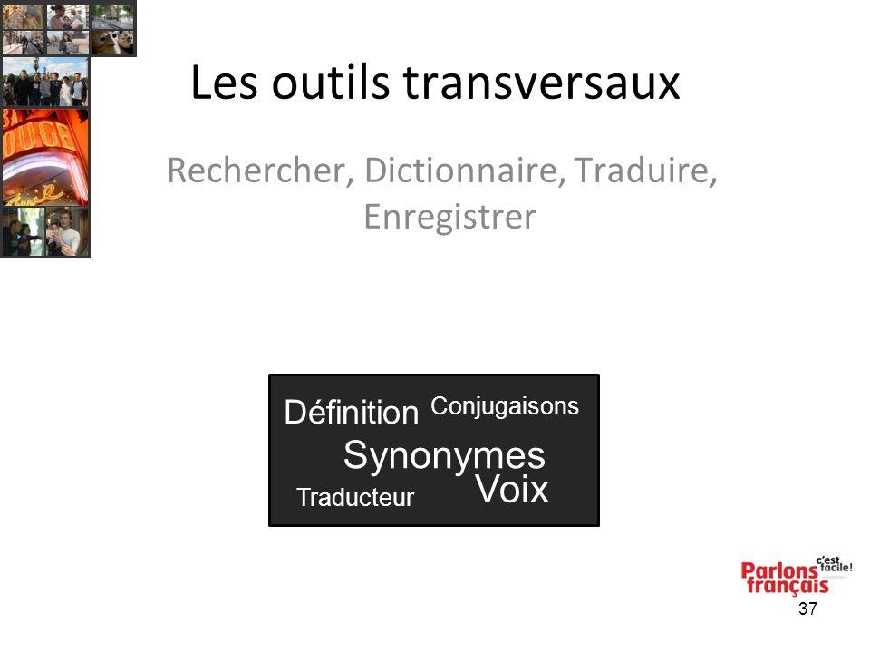 37 Les outils transversaux Rechercher, Dictionnaire, Traduire, Enregistrer Définition Synonymes Voix Traducteur Conjugaisons