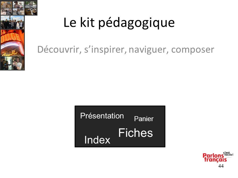 44 Le kit pédagogique Découvrir, sinspirer, naviguer, composer Présentation Fiches Index Panier