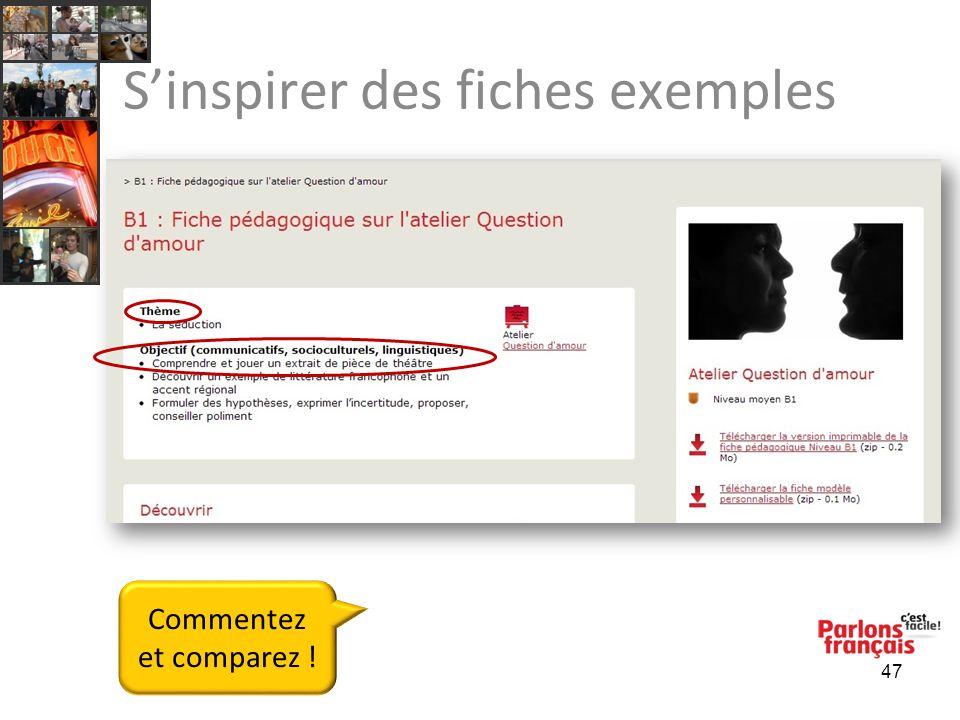 Sinspirer des fiches exemples 47 Commentez et comparez !