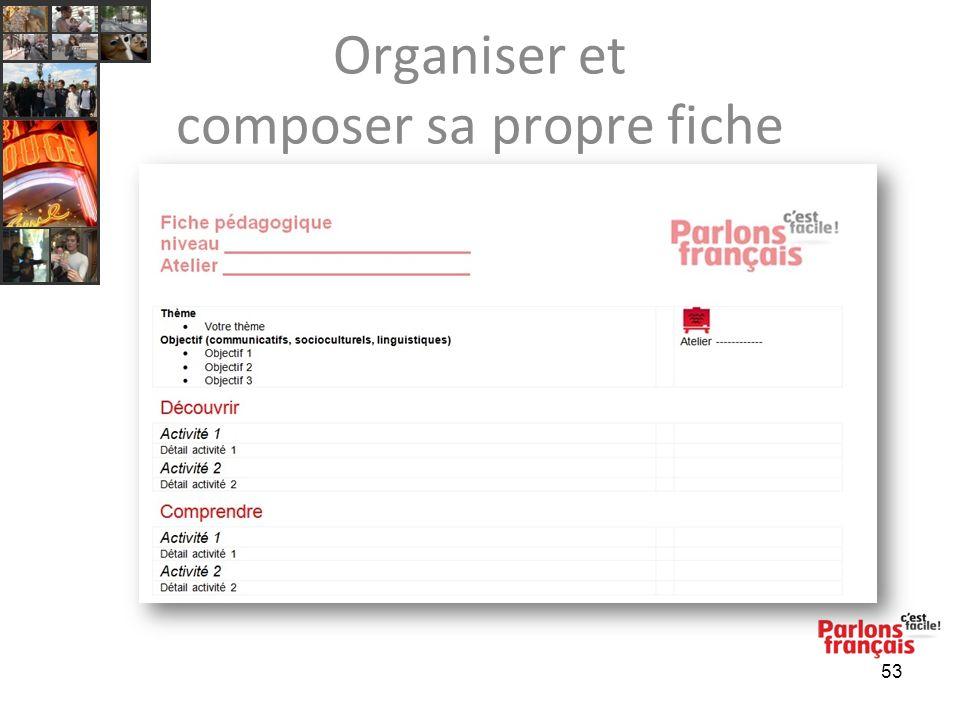 Organiser et composer sa propre fiche 53