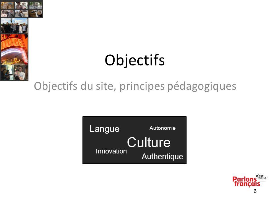 6 Objectifs Objectifs du site, principes pédagogiques Langue Autonomie Culture Innovation Authentique