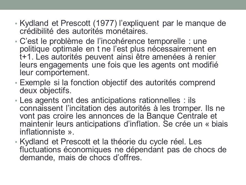 Kydland et Prescott (1977) lexpliquent par le manque de crédibilité des autorités monétaires. Cest le problème de lincohérence temporelle : une politi