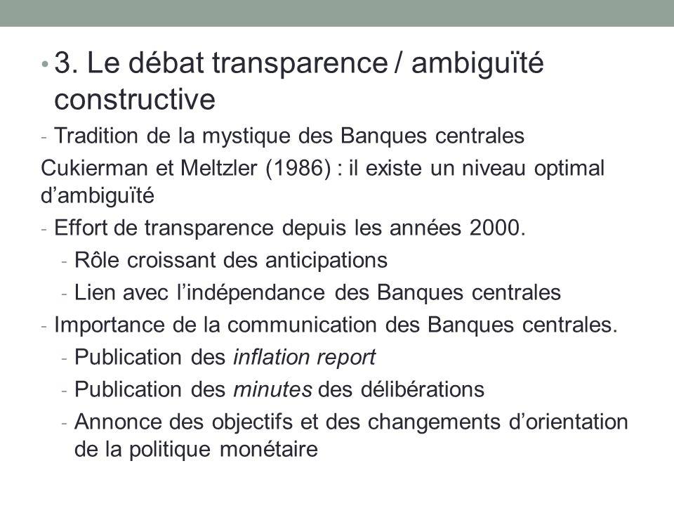3. Le débat transparence / ambiguïté constructive - Tradition de la mystique des Banques centrales Cukierman et Meltzler (1986) : il existe un niveau