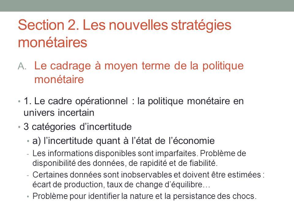 Section 2. Les nouvelles stratégies monétaires A. Le cadrage à moyen terme de la politique monétaire 1. Le cadre opérationnel : la politique monétaire