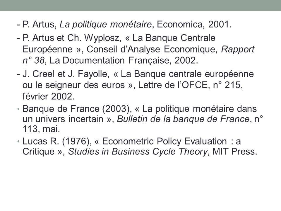 - P. Artus, La politique monétaire, Economica, 2001. - P. Artus et Ch. Wyplosz, « La Banque Centrale Européenne », Conseil dAnalyse Economique, Rappor