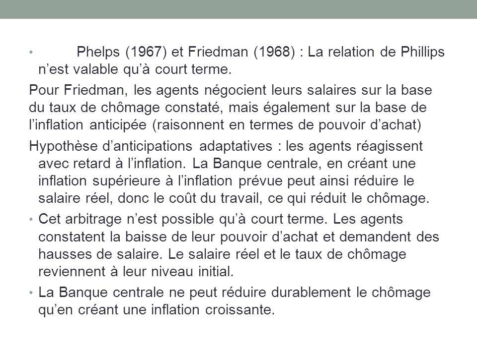 Friedman et Phelps ont anticipé la verticalisation de la courbe de Phillips suite au choc pétrolier inflationniste.