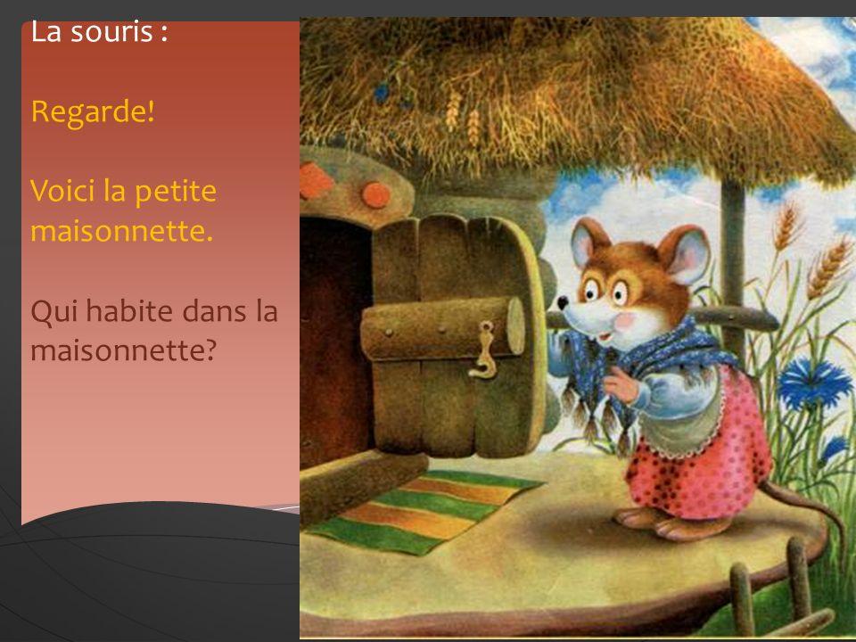 La souris : Regarde! Voici la petite maisonnette. Qui habite dans la maisonnette? Le narrateur : Personne nhabite pas dans la maisonnette. La souris e