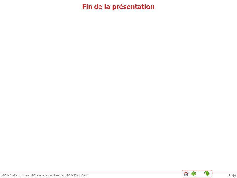P. 40 ABES – Atelier Journées ABES – Dans les coulisses de lABES – 17 mai 2011 Le DSI de lABESPhilosophieIntroductionQui fait quoi ?IllustrationLe DSI