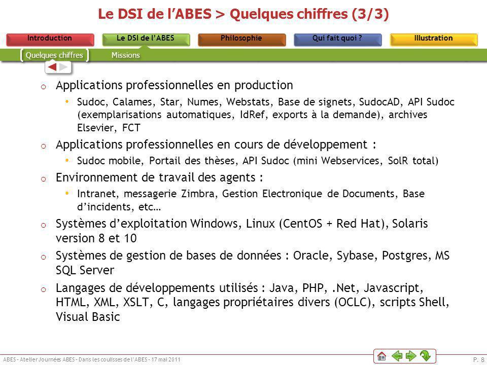 P. 8 ABES – Atelier Journées ABES – Dans les coulisses de lABES – 17 mai 2011 Le DSI de lABESPhilosophieIntroductionQui fait quoi ?IllustrationLe DSI