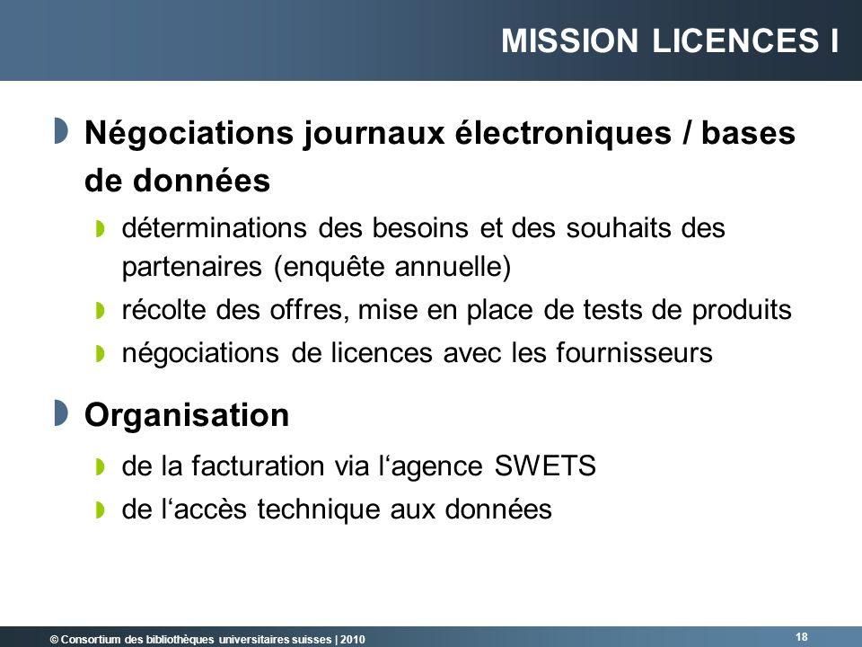 © Consortium des bibliothèques universitaires suisses   2010 18 MISSION LICENCES I Négociations journaux électroniques / bases de données déterminatio