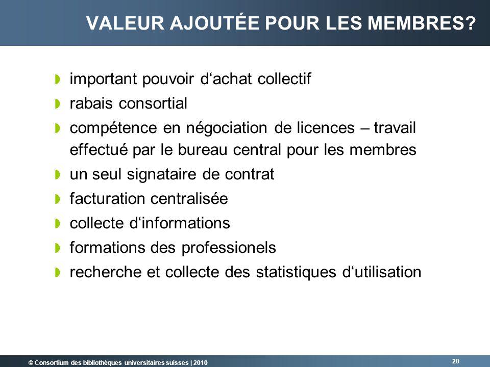 © Consortium des bibliothèques universitaires suisses   2010 20 VALEUR AJOUTÉE POUR LES MEMBRES? important pouvoir dachat collectif rabais consortial
