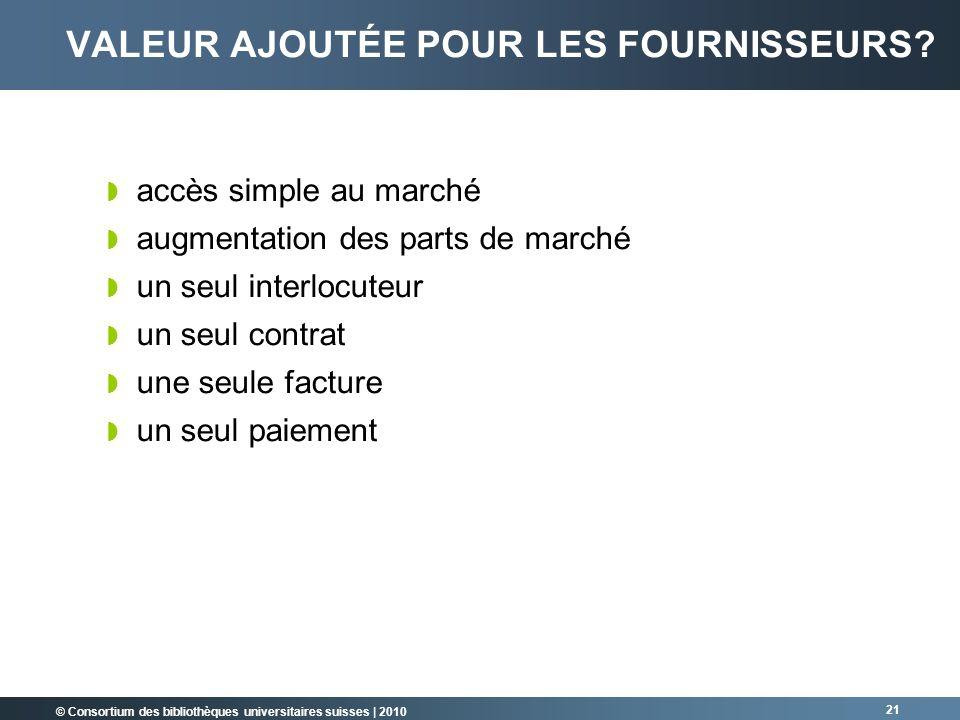 © Consortium des bibliothèques universitaires suisses   2010 21 VALEUR AJOUTÉE POUR LES FOURNISSEURS? accès simple au marché augmentation des parts de