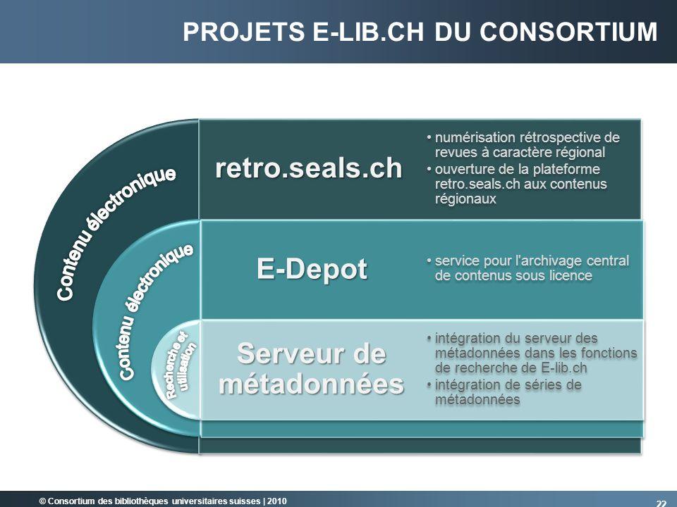 © Consortium des bibliothèques universitaires suisses   2010 PROJETS E-LIB.CH DU CONSORTIUMretro.seals.ch E-Depot Serveur de métadonnées numérisation