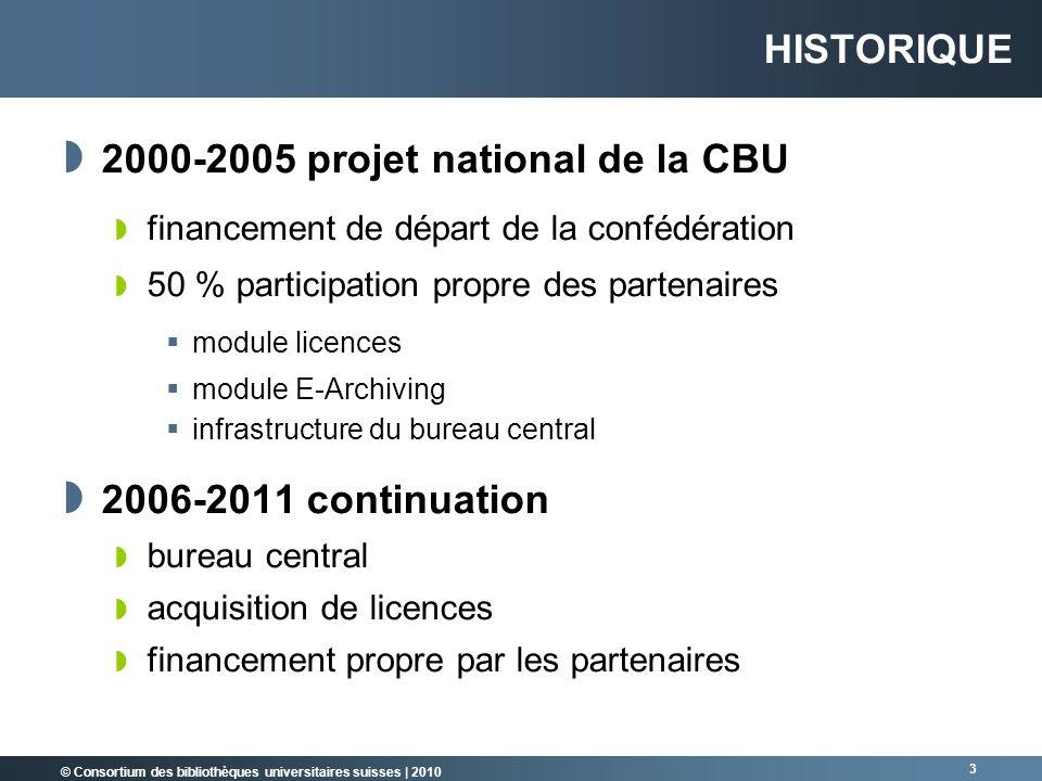 © Consortium des bibliothèques universitaires suisses   2010 3 HISTORIQUE 2000-2005 projet national de la CBU financement de départ de la confédératio