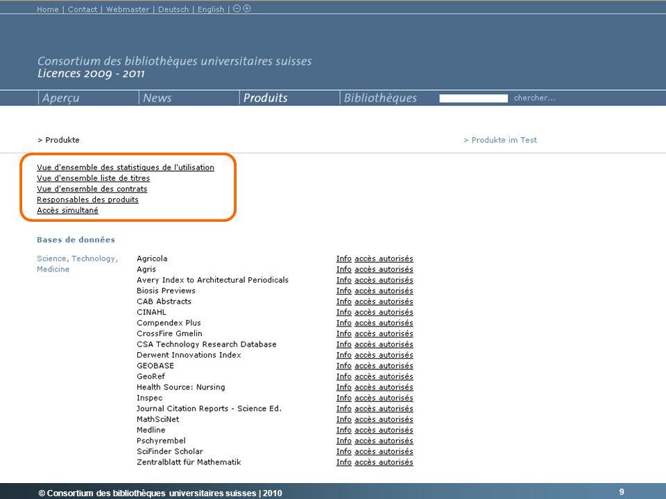 © Consortium des bibliothèques universitaires suisses   2010 20 VALEUR AJOUTÉE POUR LES MEMBRES.