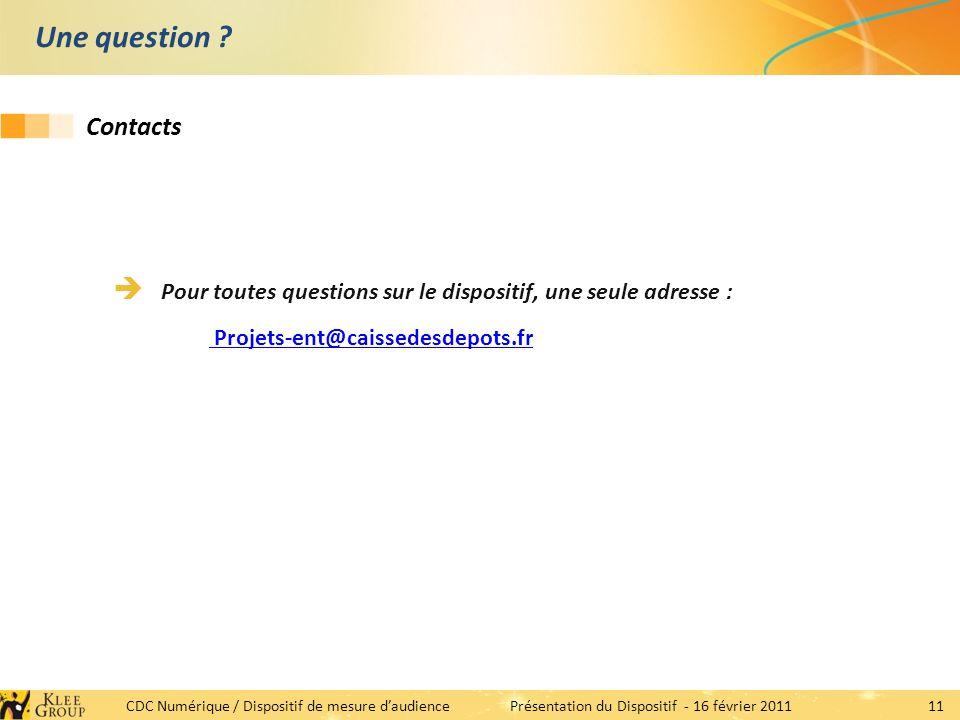 11 CDC Numérique / Dispositif de mesure daudiencePrésentation du Dispositif - 16 février 2011 Une question .