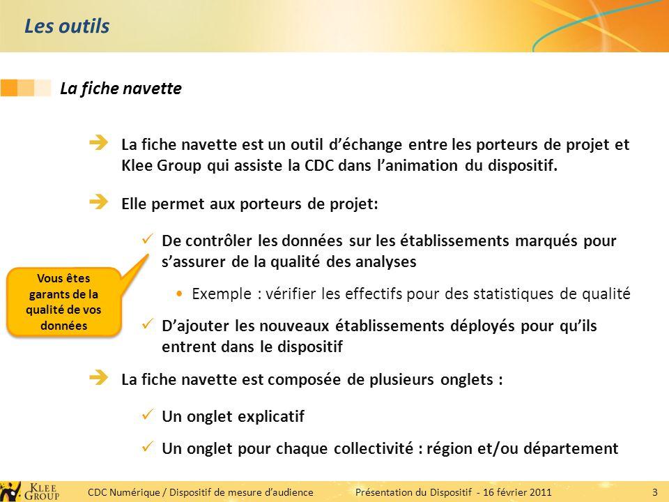 3 CDC Numérique / Dispositif de mesure daudiencePrésentation du Dispositif - 16 février 2011 Les outils La fiche navette est un outil déchange entre les porteurs de projet et Klee Group qui assiste la CDC dans lanimation du dispositif.