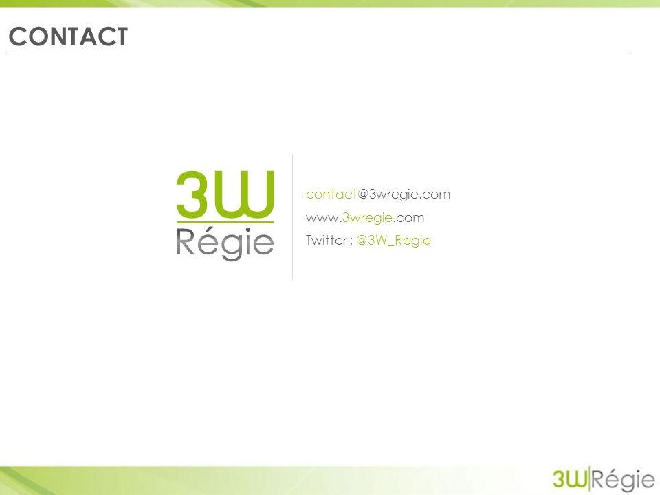 CONTACT contact@3wregie.com www.3wregie.com Twitter : @3W_Regie