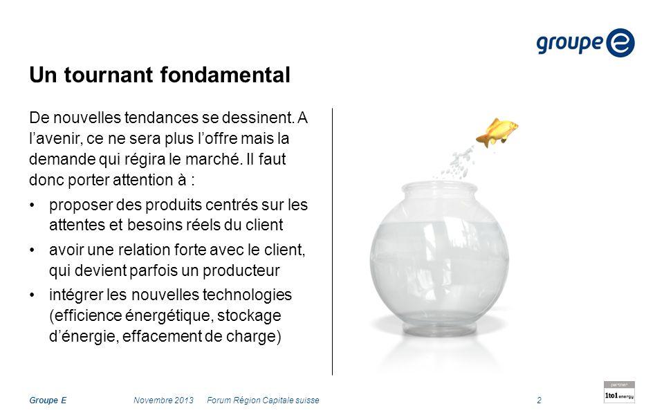 Groupe E Un tournant fondamental De nouvelles tendances se dessinent. A lavenir, ce ne sera plus loffre mais la demande qui régira le marché. Il faut