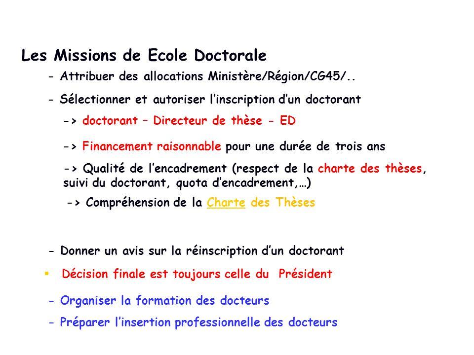 Les Missions de Ecole Doctorale - Attribuer des allocations Ministère/Région/CG45/.. - Sélectionner et autoriser linscription dun doctorant -> doctora