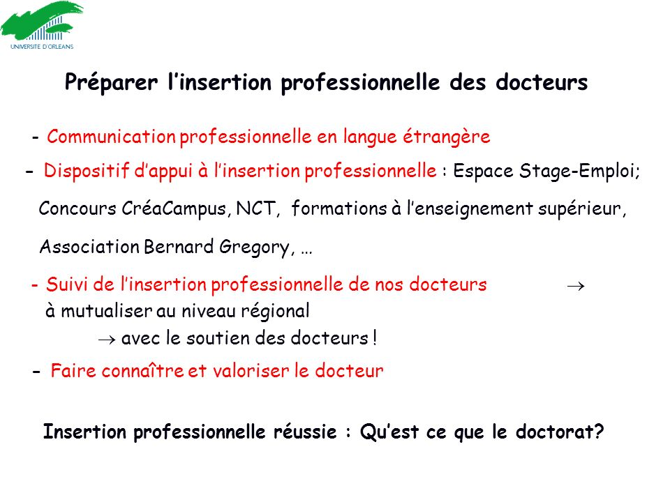 Préparer linsertion professionnelle des docteurs - Communication professionnelle en langue étrangère - Dispositif dappui à linsertion professionnelle