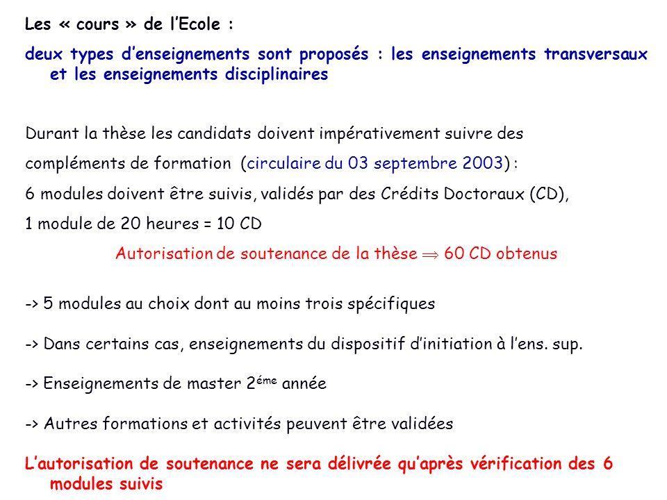 Les « cours » de lEcole : deux types denseignements sont proposés : les enseignements transversaux et les enseignements disciplinaires Durant la thèse