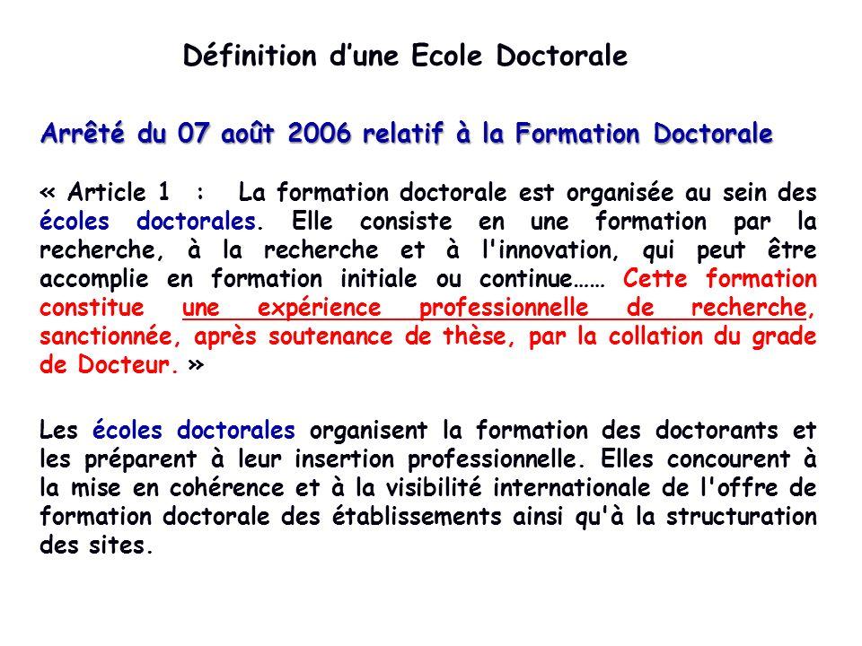Définition dune Ecole Doctorale Arrêté du 07 août 2006 relatif à la Formation Doctorale « Article 1 : La formation doctorale est organisée au sein des