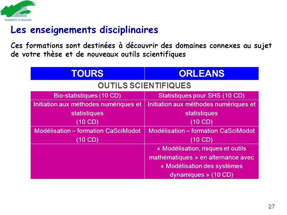 27 TOURSORLEANS OUTILS SCIENTIFIQUES Bio-statistiques (10 CD)Statistiques pour SHS (10 CD) Initiation aux méthodes numériques et statistiques (10 CD)