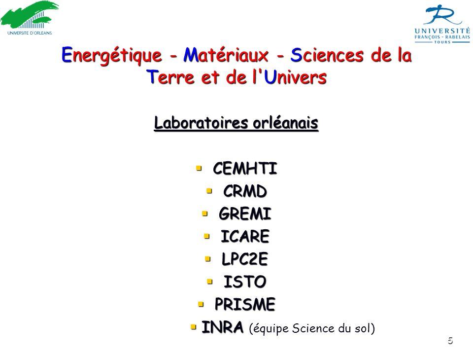 5 Energétique - Matériaux - Sciences de la Terre et de l'Univers Laboratoires orléanais CEMHTI CEMHTI CRMD CRMD GREMI GREMI ICARE ICARE LPC2E LPC2E IS