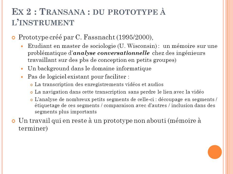E X 2 : T RANSANA : DU PROTOTYPE À L INSTRUMENT Prototype créé par C. Fassnacht (1995/2000), Etudiant en master de sociologie (U. Wisconsin) : un mémo