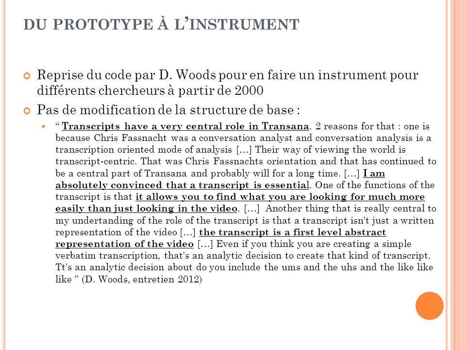 Reprise du code par D. Woods pour en faire un instrument pour différents chercheurs à partir de 2000 Pas de modification de la structure de base : Tra