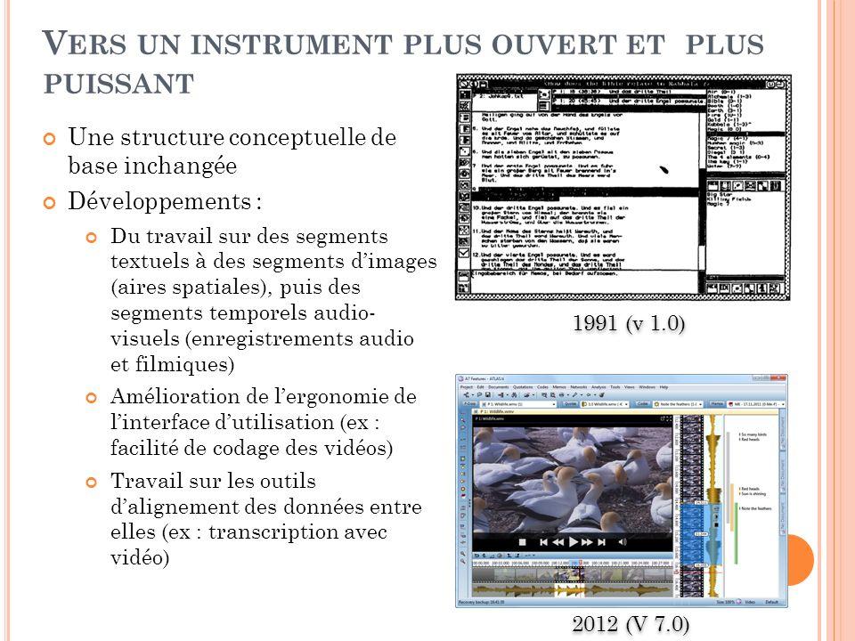 V ERS UN INSTRUMENT PLUS OUVERT ET PLUS PUISSANT Une structure conceptuelle de base inchangée Développements : Du travail sur des segments textuels à