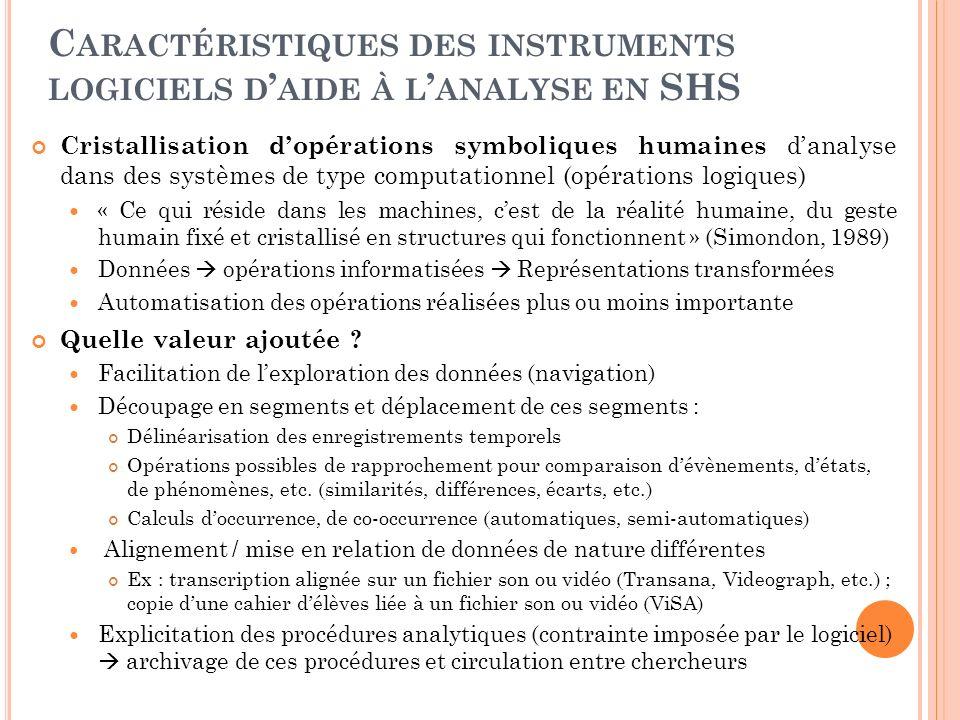 C ARACTÉRISTIQUES DES INSTRUMENTS LOGICIELS D AIDE À L ANALYSE EN SHS Cristallisation dopérations symboliques humaines danalyse dans des systèmes de t