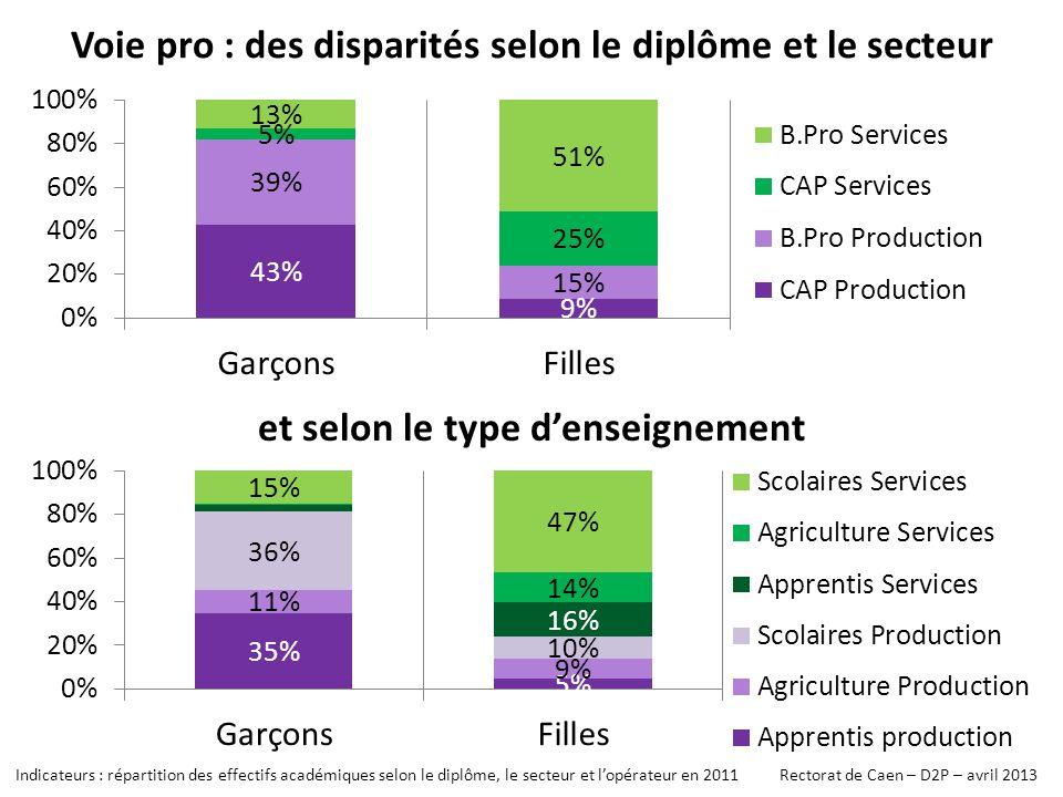 Voie pro : des disparités selon le diplôme et le secteur et selon le type denseignement Indicateurs : répartition des effectifs académiques selon le diplôme, le secteur et lopérateur en 2011 Rectorat de Caen – D2P – avril 2013