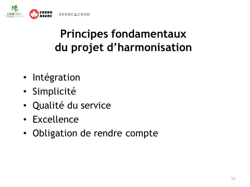 Principes fondamentaux du projet dharmonisation Intégration Simplicité Qualité du service Excellence Obligation de rendre compte 16